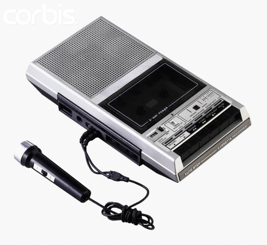 Old Fashioned Tape Recorder with Microphone Attached